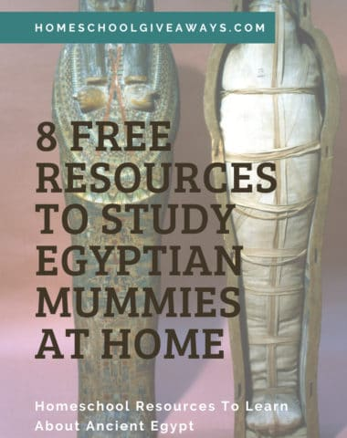 image of Egyptiaan Mummy and tomb wit h text overlay. 8 Free Resources to stdy Egyptian Mummies at Home from www.Homeschoolgivaways.com