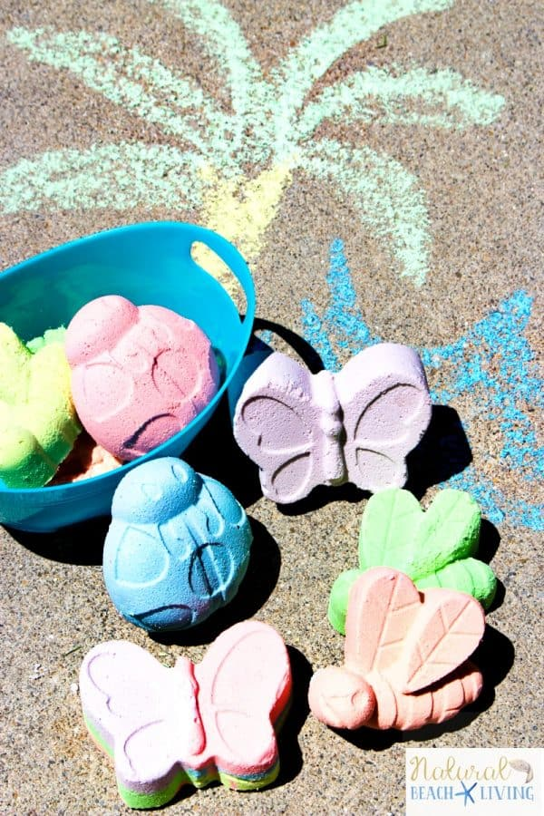 colorful DIY sidewalk chalk in insect shapes