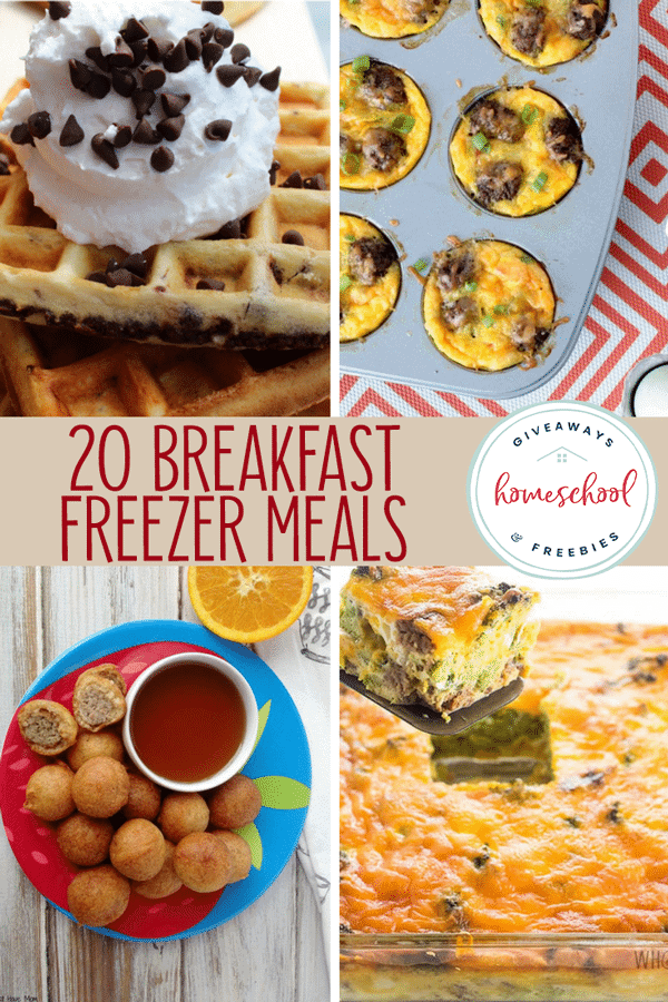 collage of breakfast freezer meals