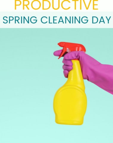 rubber Glove holding cleaning spray