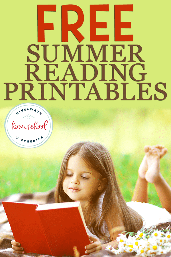 young girl reading outside in summer with overlay - FREE Summer Reading Printables