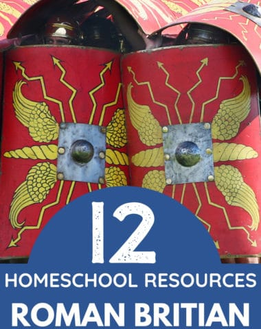 image of Roman military shields with thet overlay 12 homeschool resources about Roman Britain fomwww.HomeschoolGiveaways.com
