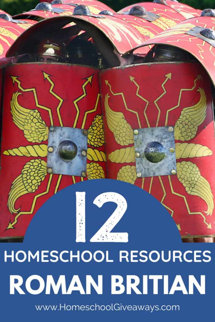 image of Roman sheilds with text overlay. 12 Roman Britain Homeschool Rsources from www.HomeschoolGiveaways.com