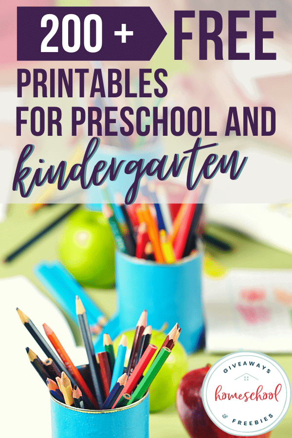Purple text overlay and blurred background of preschool materials like colored pencils, sheets and more.