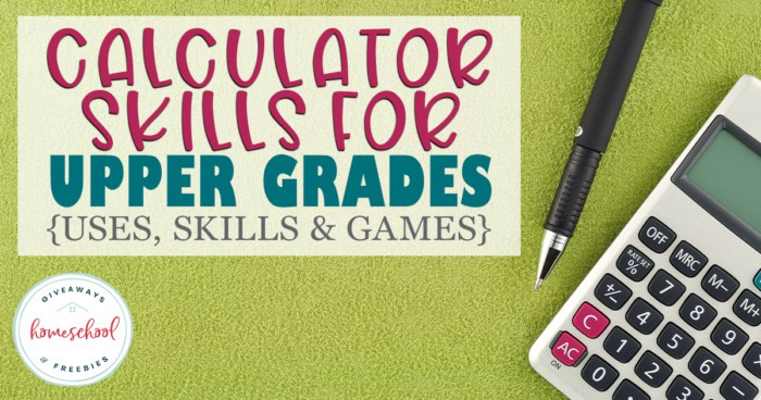 pen and calculator laid on green table with overlay - Calculator Skills for Upper Grades
