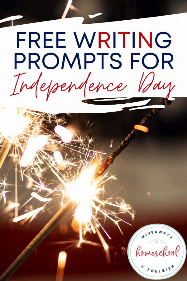 FREE Writing Prompts for Independence Day text with sparkler image