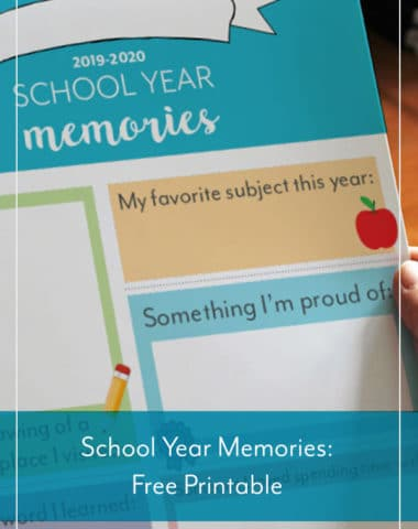 Free School Year Memories Printable