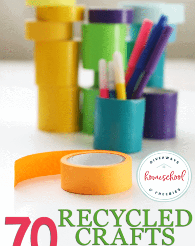 craft supplies spread out on table with overlay - 70 Recycled Crafts for Kids