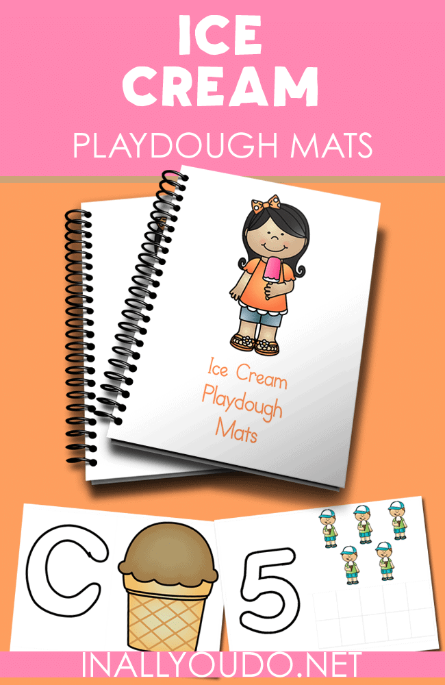 sample pages of Ice Cream playdough mats