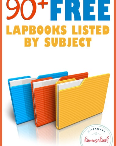 folders on white background with overlay - 90+ FREE Lapbooks Listed by Subject