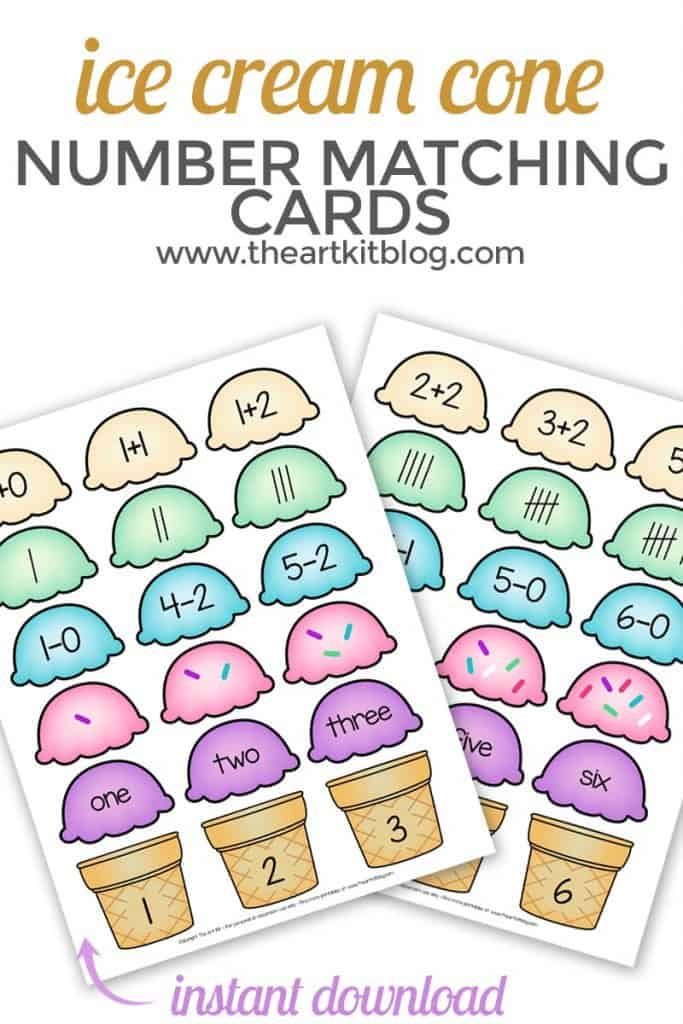 sample pages of ice cream number matching printable