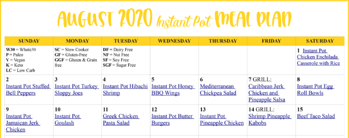 sample of August 2020 Instant Pot Meal Plan