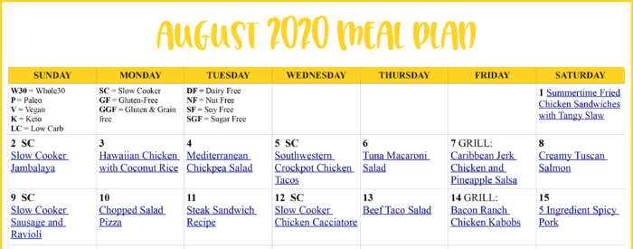 sample of August 2020 Meal Plan