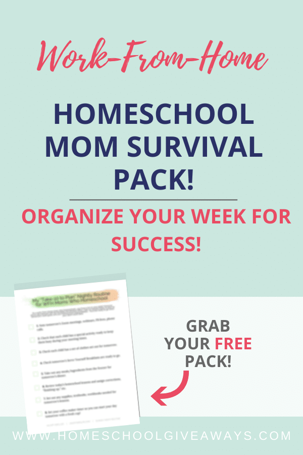Homeschool Mom Survival Pack text overlay on a plain mint background with image of printable.