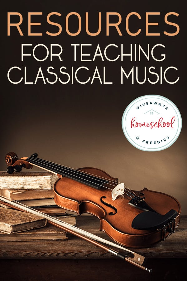 violin and bow propped up on books with overlay - Resources for Teaching Classical Music