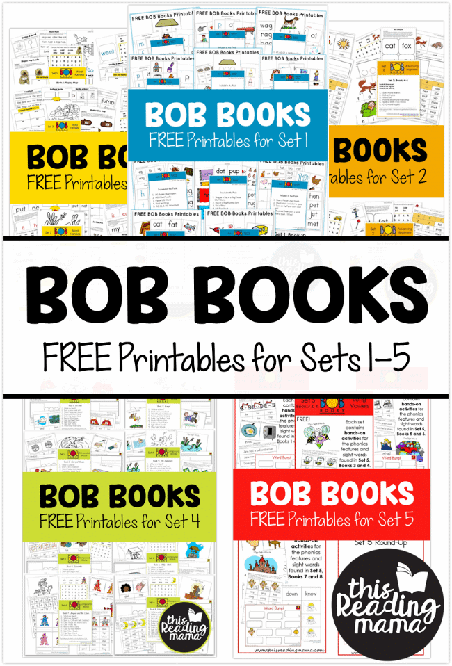 sample pages of BOB Books printables