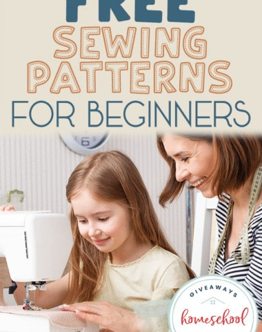 mom and daughter at sewing machine with overlay - FREE Sewing Patterns for Beginners