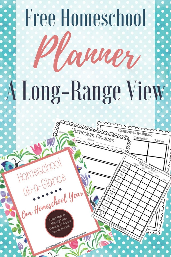 sample pages of homeschool planner a long-range view