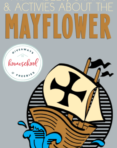 "mayflower rendering with overlay ""Printables, Crafts & Activities about the Mayflower"""