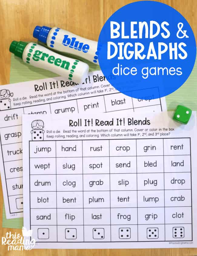 sample pages of blends and digraphs dice games