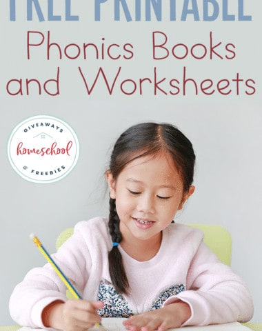 young girl working in a workbook with overlay Free printable Phonics books and worksheets