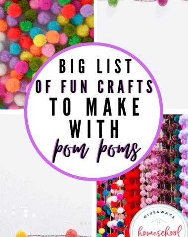 Big List of Fun Crafts to Make with Pom Poms. #funpompomcrafts #pompomcrafts #funkidscrafts #craftswithpompoms