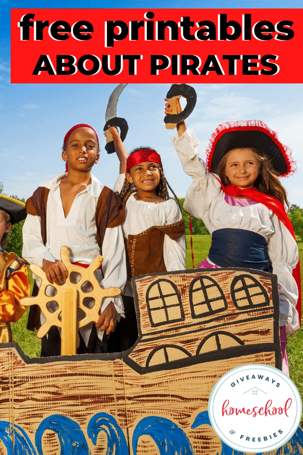 FREE Printables About Pirates with image of kids dressed up like pirates.