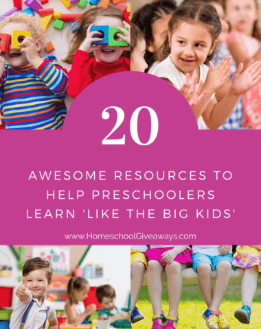 image collage of preschoolers learning with text overlay. 20 Awesome Resources to Help Preschoolers 'Leran like the big kids', from www.HomeschoolGiveaways.com