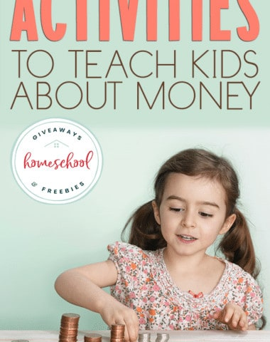 """young girl counting money with overlay - """"Activities to Teach Kids About Money"""""""