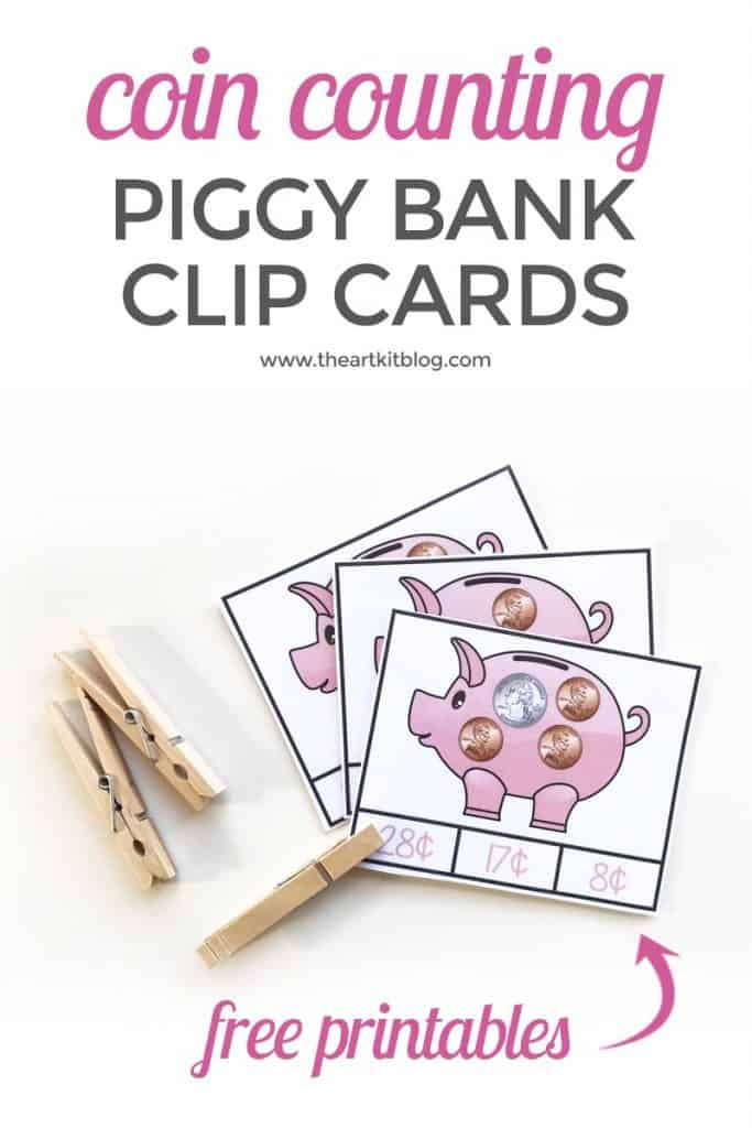 sample pages of coin counting Piggy Bank Clip Cards