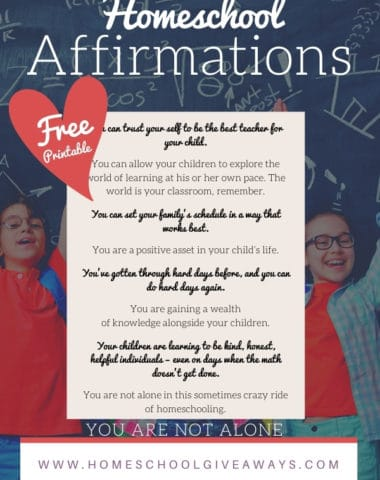 image of homeschool affirmations printable availalbe at www.Homeschoolgiveaways.com