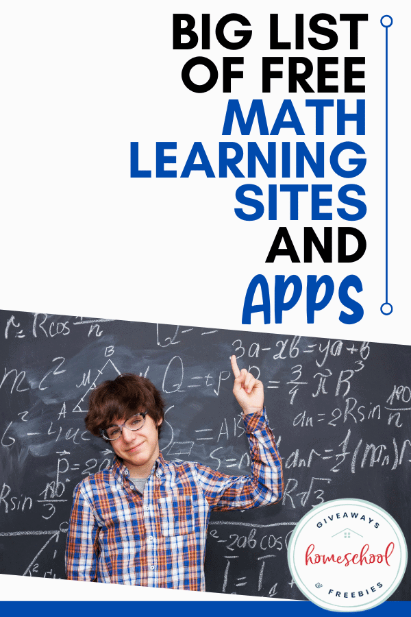 Big List of Free Math Learning Sites & Apps. #mathlearningsites #mathlearningapps #mathapps