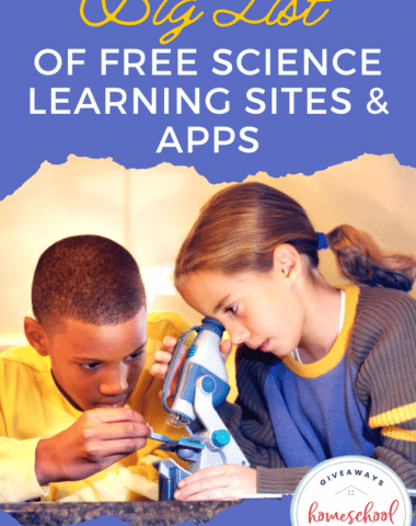 Big List of Free Science Learning Sites & Apps. #sciencelearningsites #sciencelearningapps #scienceapps #sciencehomeschoolsite