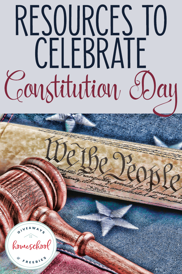 rolled up constitution with gavel on American Flag - overlay Resources to Celebrate Constitution Day