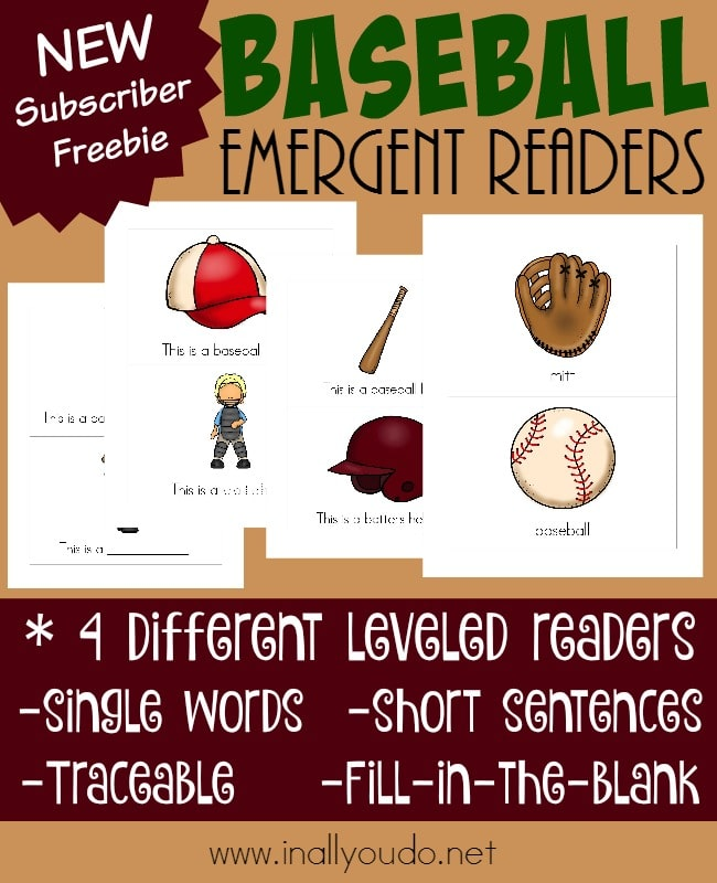 sample pages from Baseball Emergent Readers