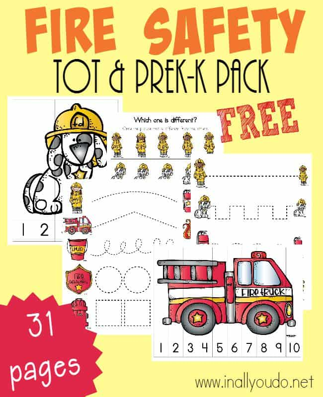 sample pages from the Fire Safety Tot & PreK-K Pack