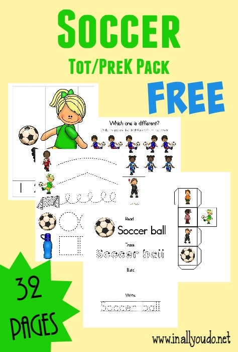 sample pages from Soccer themed Tot & PreK-K Pack