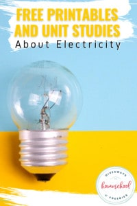 light bulb on blue and yellow with overlay - Free printables and unit studies about electricity
