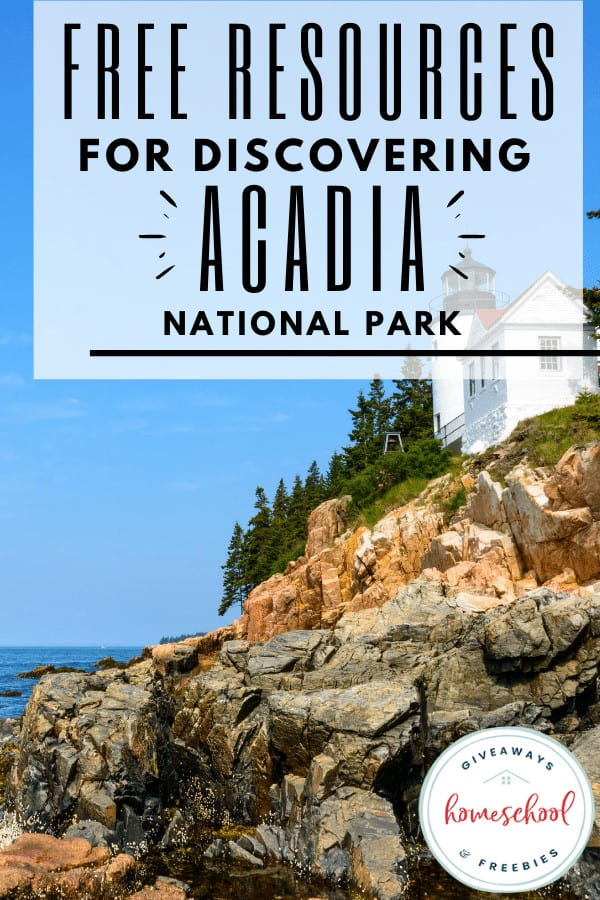 free resources for discovering acadia national park with photo of rocks on water.