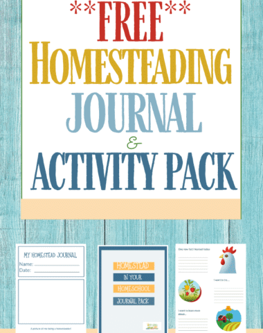 Free homesteading journal activity pack text overlay on blue washed wooden background
