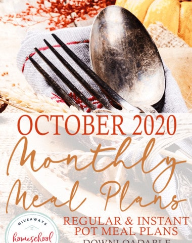 fall table setting with overlay - TWO October 2020 Monthly Meal Plans {Downloadable with Clickable Links}