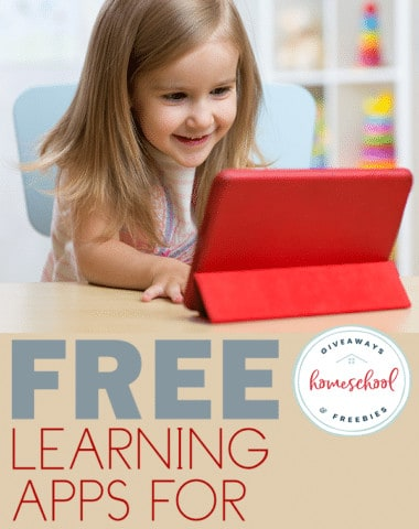 preschool girl playing on her table with overlay - Free Learning Apps for Preschoolers