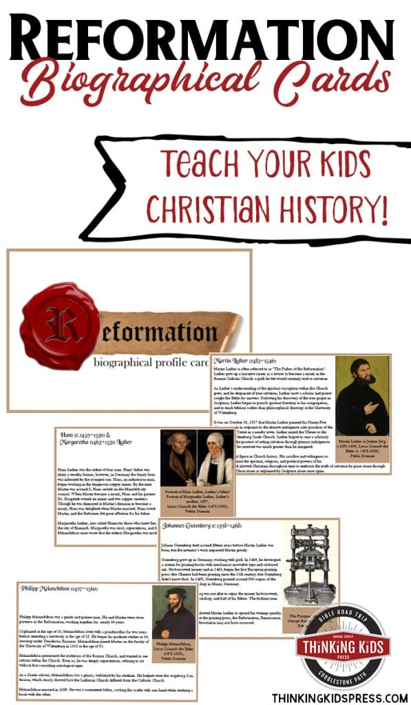 sample pages of Reformation Biography cards