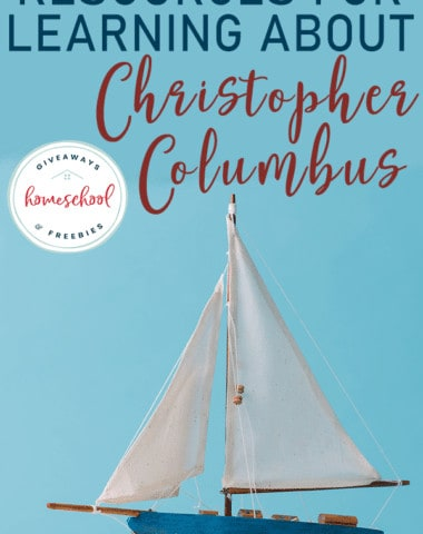 """toy sail boat on sand with overlay """"Resources for Learning About Christopher Columbus"""