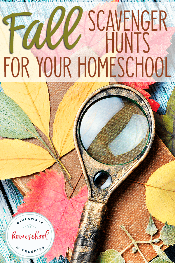 blue distressed table with book, leaves and magnifying glass with overlay - Fall Scavenger Hunts for Your Homeschool