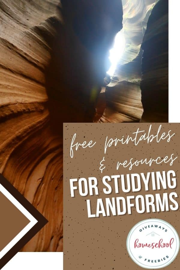 FREE Printables and Resources for Studying Landforms text with picture of inside of a cavern.