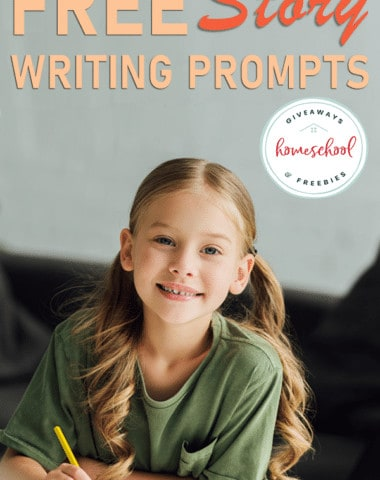 young girl writing with overlay - FREE Story Writing Prompts