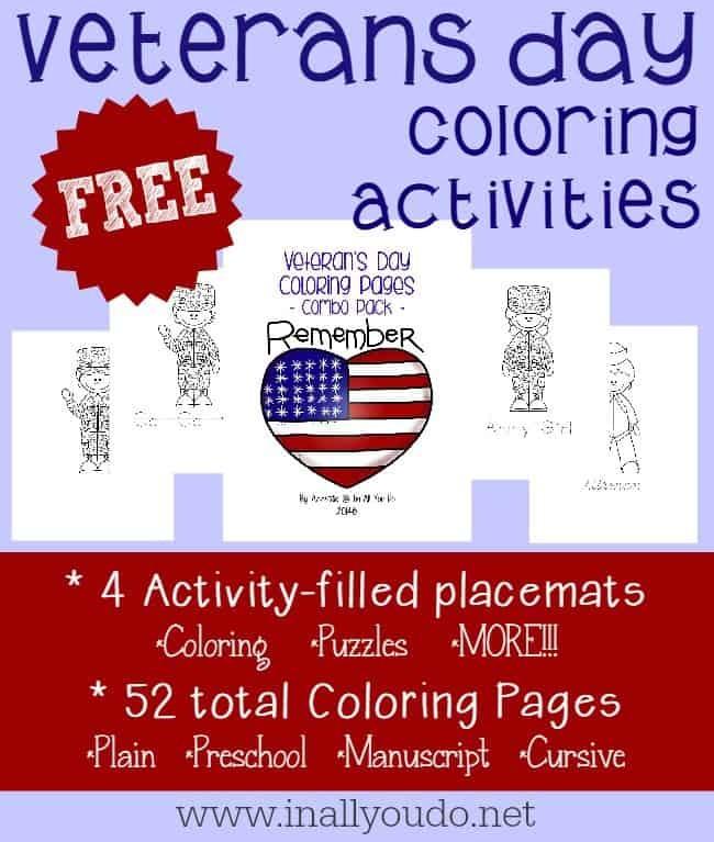 sample pages of Veterans Day Coloring Activities