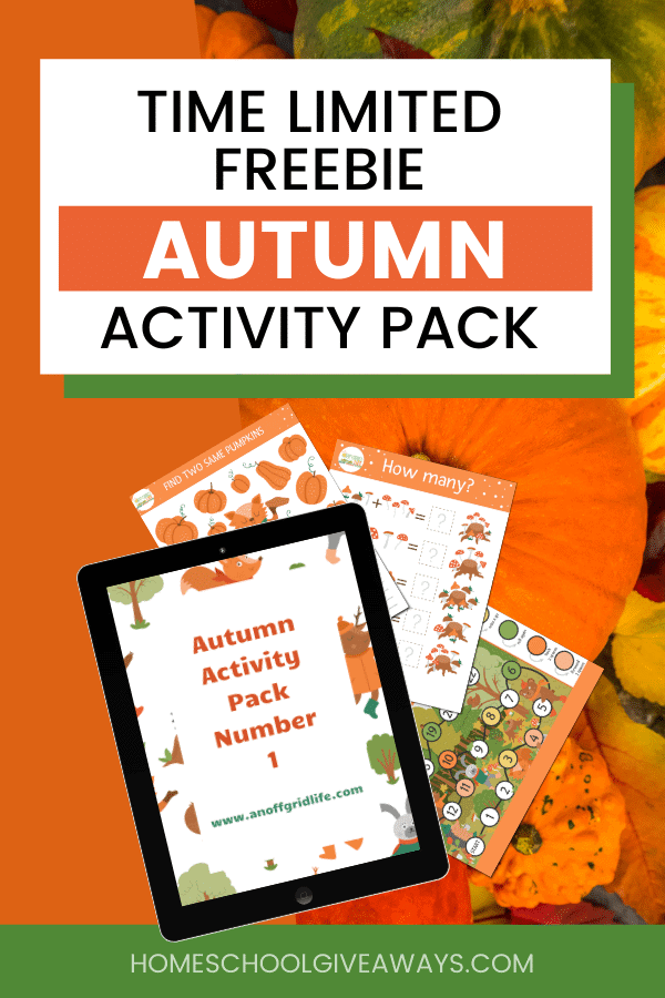 TIME LIMITED FREEBIE AUTUMN ACTIVITY PACK text overlay on image of printable worksheets for children on a background of pumpkins and gourds.