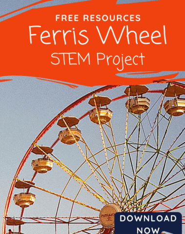 image of Ferris wheel with text overlay. Free Resources Ferris Wheel STEM Project from www.Homeschoolgiveaways.com